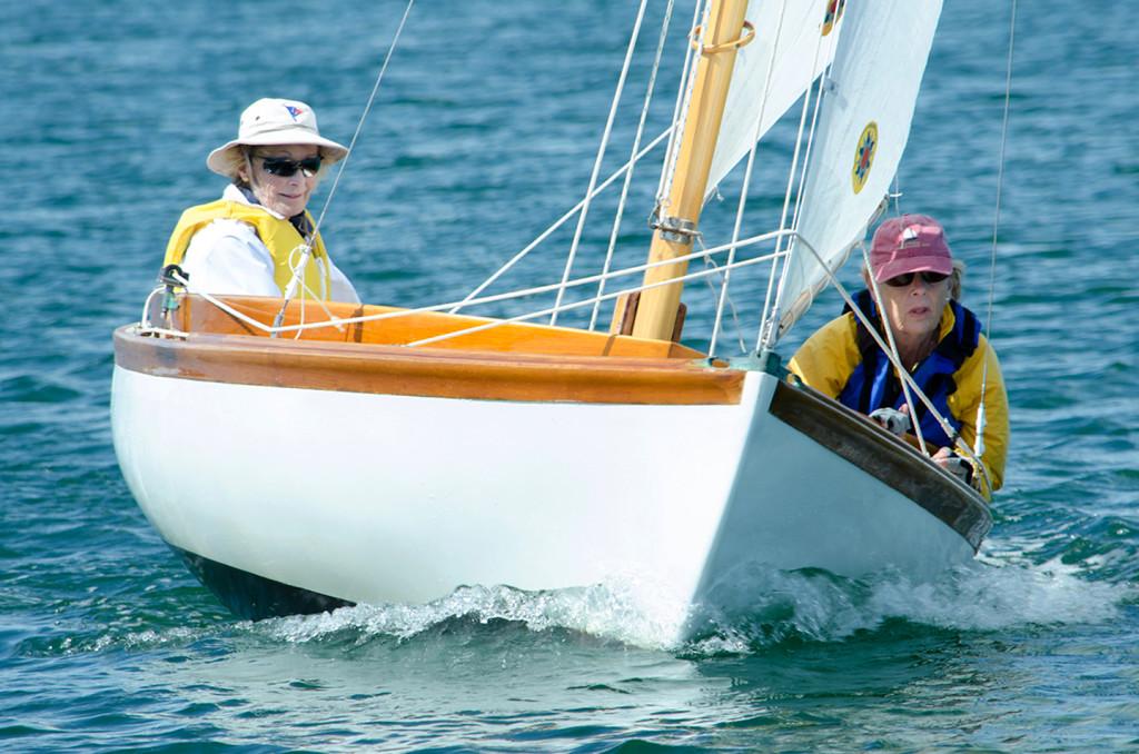 Diana Dozier (left) skippers 'Twas Brillig, with crew Dianne Durawa